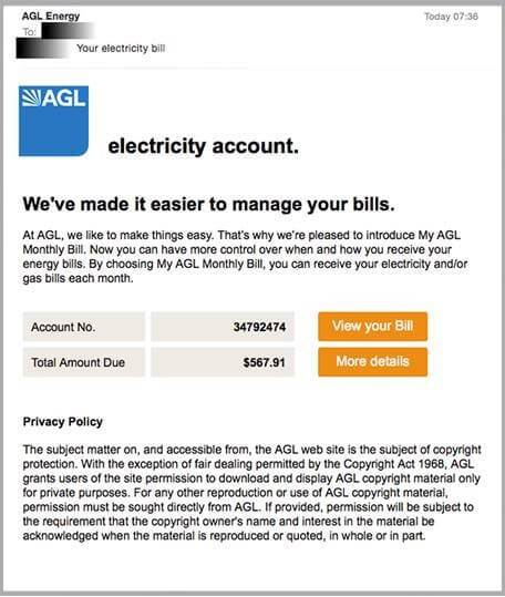 AGL electricity account example